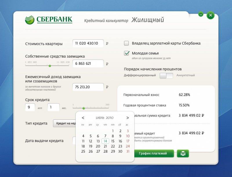 В организации Сбербанк доступен онлайн калькулятор кредита потребительский: рассчитать финансы можно